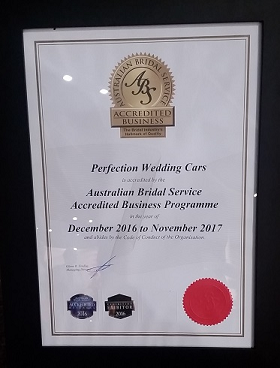 Accreditation by the Australian Bridal Service since 2015.